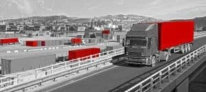 Road freight with shipping containers