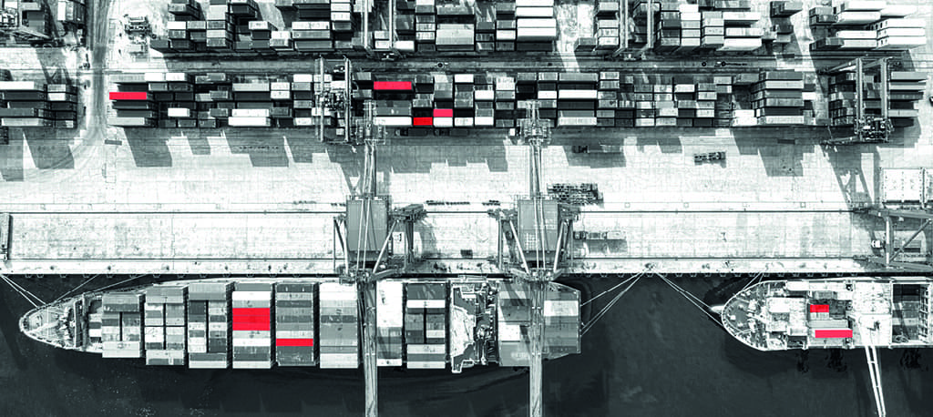 shipping containers in a dock